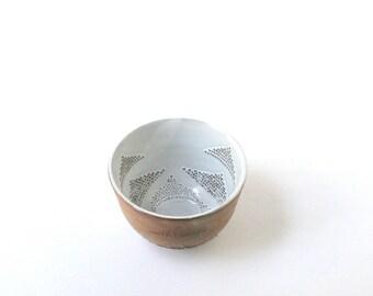 Raw Clay Bowl - TRIANGLE Stacks -  Rustic Chic Home Decor - Pierced Clay Vessel  - Decorative Pottery - Ceramic Interior Decor