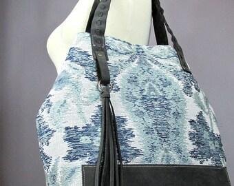 Carpet Bag - Large Tote bag - Boho bag - Tapestry handbag - leather bag- 8 pockets