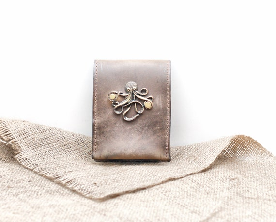 Octopus Leather iPhone Case - Leather Smartphone Case and Card Wallet with Steampunk Nautical Kraken