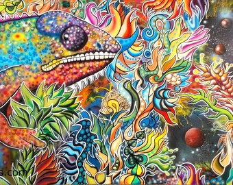 Chameleon - Large Giclee Canvas Print of Surreal Abstract Painting