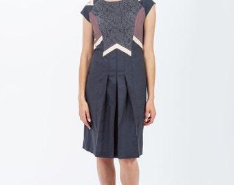 Statement Dress / Geometric Dress / SALE / Pleated Dress / Organic Dress / Party Dress / Special Occasion Dress / Spring Celebrations