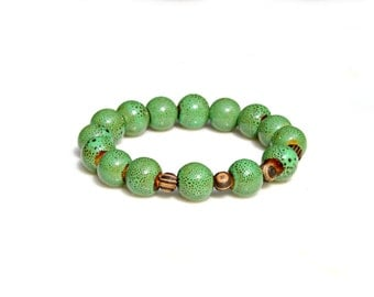 Mens Bracelet Green Pottery Beaded Bracelet Brown Wood Beads Rustic Style Masculine Stackable Bracelet Earthy Tribal Rustic Boho Mei Faith