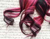 SALE the R O X B U R Y ... hot true Pink magenta and deep jet BLACK clip in hair accent  Christmas yule holiday