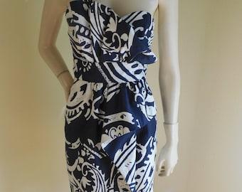 Hawaiian sarong Dress , Tiki print Dress , hawaiian strapless dress