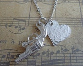 Sterling Silver 'Love is a Battlefield' Gun Pistol Revolver Necklace