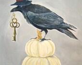 "Halloween Raven- original acrylic painting- ""Never More"""