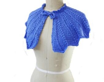 Cornflower Blue Wedding Capelet - Hand Knit - Bridal Capelet - Something Blue