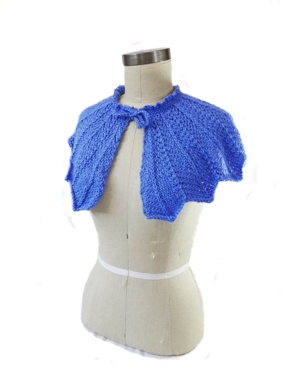 Cornflower Blue Wedding Capelet - Hand Knit - Bridal Capelet - Something Blue