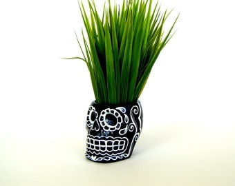 Sugar Skull Planter Halloween Black White Painted Ceramic Candle Holder gold Day of the Dead Folk Art Dia de los Muertos - Made to Order