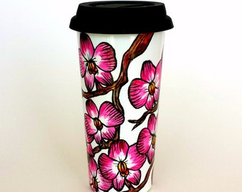 Ceramic Travel Mug 16oz Flowers Pink Orchids Hand Painted Tropical Botanicals Eco Friendly Porcelain - made to order
