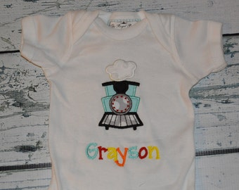 PERSONALIZED Train Bodysuit or Shirt  Monogrammed