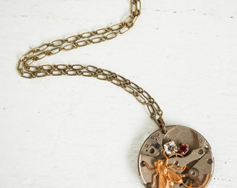 Steampunk Necklace, Insect Pendant, Vintage Watch, Steam Punk Bug Necklace, Urban Jewelry, Gift for Him, Time Traveler, Gift for Her, Rustic