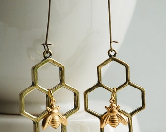 Honeycomb Geometric Earrings Gold Honey BEE EARRINGS Bumble Bee Garden Summer Insect Bug