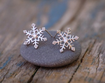 Tiny Silver SNOWFLAKE Earrings Rhinestone SILVER Winter Wedding Holiday Snow