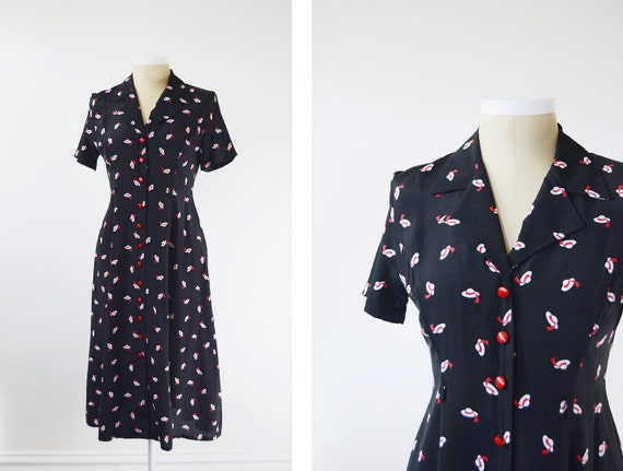1980s Black Hat Print Dress - M