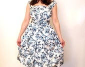 AMAZING 1960s French vintage satin cocktail dress - off white blue roses - fitted bodice - bow at the back small S