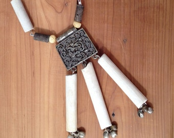 clay pipe stems tribal necklace in off-white, silver, and brown - 434