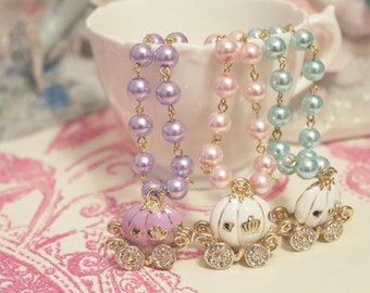 Cinderella Glass Pearl Necklace Midnight Carriage Mint Pink Lilac Elegant Vintage Princess Fairy Tale Rococo Lolita Hime Otome Pastel