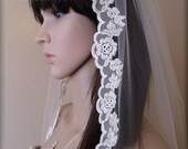 Ivory Mantilla Style Bridal Veil with Delicate Embroidered Rayon Lace Trim, Wedding Veil