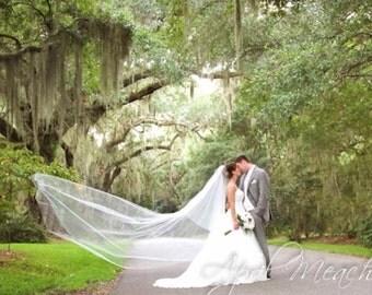Gorgeous Drop Veil Cut Edge Wedding Veil, Bridal Veil  DV36/120EFCE