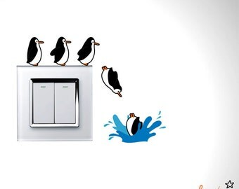 Cute Penguins Going For A Dive Wall Decal