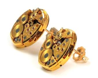 Steampunk Vintage Gold Bulova 14K Gold Filled Earpost Earrings