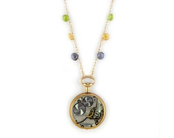 Multi Gemstones Gold Filled Antique 1900 Waltham Watch Necklace