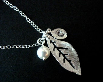Bridesmaid Jewelry Silver Leaf Stamped Initial and Pearl Wedding Necklace