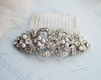 "Vintage Style Bridal Hair Comb, Vintage Wedding Hair comb, Wedding Haircomb, Vintage Wedding Hair Accessory, Rustic Wedding  - ""JULIET"""