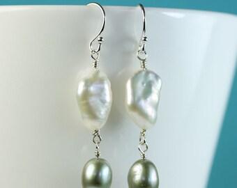 Pearl Earrings, Linked Pearl Drop Earrings, Large Keishi pearl wire wrapped onto moss green fwp, modern pearl jewelry by art4ear, dangle