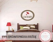 Airplane Wall Decal with Name - Monogram Baby Boy Decal with Name Airplane and Oval Polka Dot Frame Border 22H x 28W FN0327