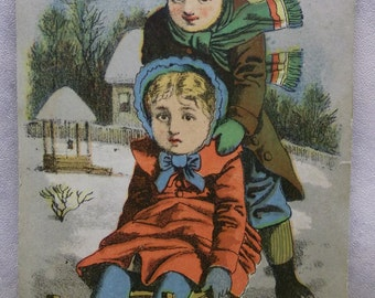 Cute Kids in Colorful Coats-Hats on Sled-Snow-Victorian Trade Card-Buffalo Soap-1800's