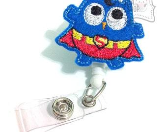 Superman Owl Badge Holder, Super Nurse Feltie Badge, Felt Badge Clip, Nurse Badge Reel, Retractable Badge, RN Badge