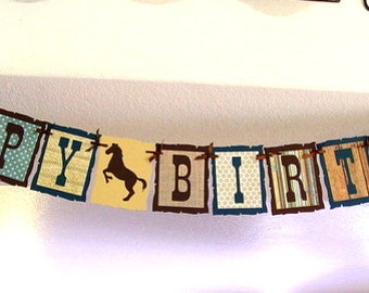 Horse Shoes Cowboy Rustic Western HAPPY BIRTHDAY Banner/Garland in Blue and Brown party decoration swag bunting 1st