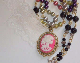 Skeleton Lady - Gothic Pink Skeleton Cameo - Glass Pearl Necklace - Gothic Style - Lolita - Skull Cameo