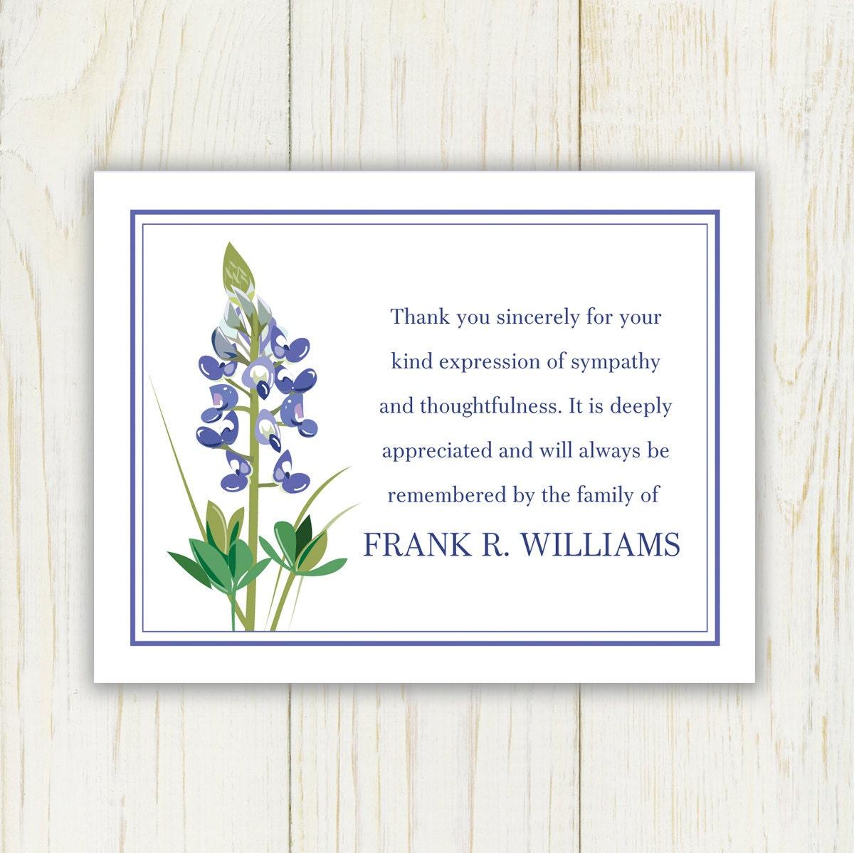 bluebonnet funeral thank you card digital file sympathy