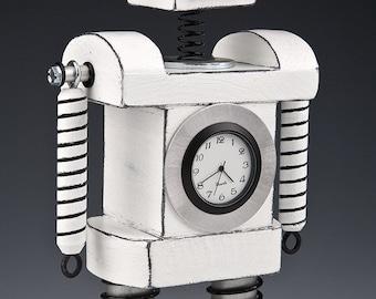 Robot Clock Bobblehead White/Black