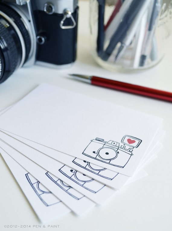 Set of 48 Camera Mini Cards, Hand Drawn, Illustration, Mini Note cards, Vintage Camera, I heart photography, 2.75 x 4.25 inches