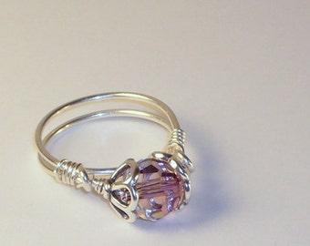 Ring, Antique Pink Swarovski Crystal Jewelry, Sterling Silver