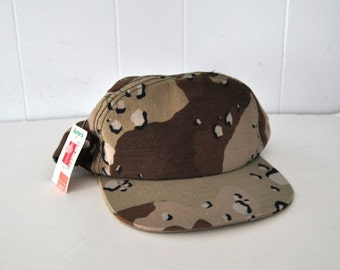Unworn Camo Military Hat Beige Brown Gulf War Trucker Cap Snapback War Vintage Baseball 80s 90s