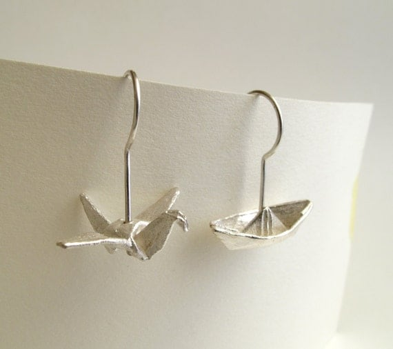 Origami Earrings Silver Crane and Boat earrings Origami Crane Origami Bird Origami Boat Origami Jewelry