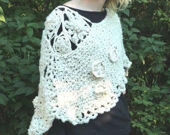 SALE Women's Freeform Crocheted Cape - Ivory