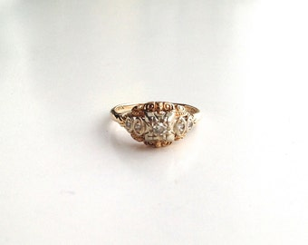 V I N T A G E // 14k with 5 diamonds / yellow and white gold / art deco ring with etruscan influence / size 4.5