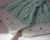 Scarf, 39x12in, Aqua, rib knit, crochet