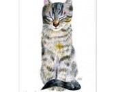 "cat drawing ""A Dozing Cat"" desk art decor nursery room cat lover gift birthday  (115)"