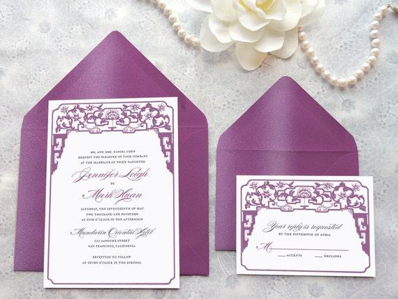 Chinese Themed Wedding Invitations: Chinoiserie Asian Printable Wedding Invitations Chinese