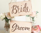 Rustic Wood Bride & Groom Chair Signs Calligraphy Country Barn Wedding (Item Number MMHDSR10048)