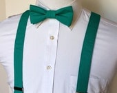 Men's Bowtie and Suspenders - Teal  EASTER is March 27th!                  2 weeks before shipping