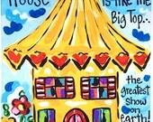 "Yellow ""Big Top House"" Print - Bronwyn Hanahan Art"