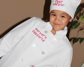 Child's Personalized Chef Coat and Matching Hat Set Embroidered Monogrammed CUSTOM WORDING